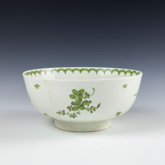 Very Rare Green Monochrome Lowestoft Bowl c1775