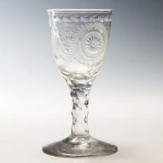 Bucrania Engraved Wine Glass Anti Stuart Drinking Club c1780