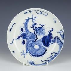 Rare Pearlware Dragon Pattern Saucer Dish c1800