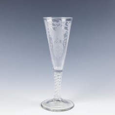A Superb Double Series Opaque Twist Engraved Ale Glass c1765