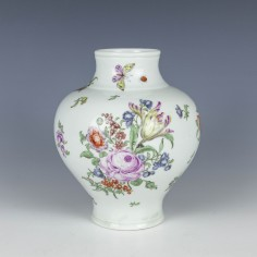 Early Worcester Ovoid Polychrome Floral Vase c1758