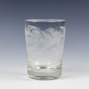 Engraved Victorian Glass Tumbler c1895