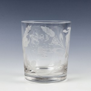 Engraved Victorian Glass Tumbler c1865