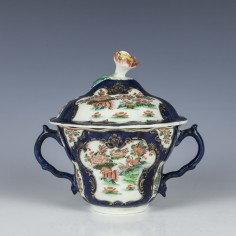 Worcester Blue Scale Chocolate Cup & Cover c1775