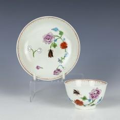 Worcester Harvest Bug Pattern Teabowl and Saucer c1770