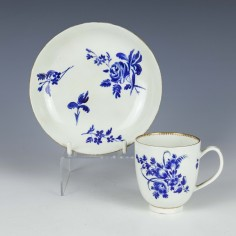Worcester James Giles Decorated Saucer and Matched Coffee Cup c1770