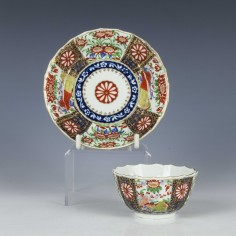 First Period Worcester Rich Queens Pattern Tea Bowl and Saucer c1766