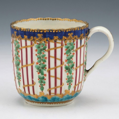 First Period Worcester Porcelain Hop Trellis Coffee Cup c1775