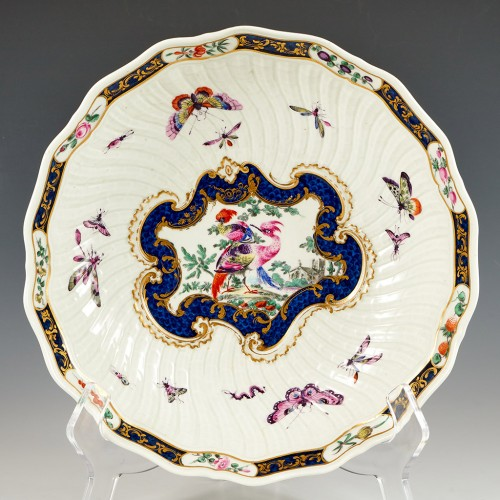 Very Rare Worcester Fancy Birds Pattern Junket Dish c1770
