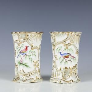 Pair H and R Daniel Porcelain Spill vases c1835