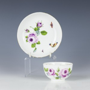 A Meissen Porcelain Tea Bowl And Saucer With Roses and Insects c1770