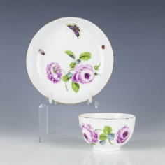 A Floral Decorated Meissen Porcelain Tea Bowl And Saucer c1770