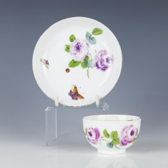 A Meissen Porcelain Tea Bowl and Saucer c1770