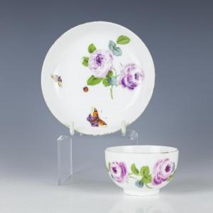 A Meissen Porcelain Tea Bowl and Saucer c1770