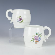 RESERVED M.T - A Pair of Chantilly Porcelain Mustard Pots c1750