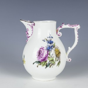 A Botanical Decorated Meissen Hot water Jug c1760