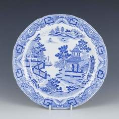 Davenport Blue and White Pottery Plate c1800