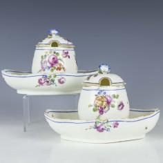 Rare Mennecy-Villeroy Porcelain Mustard Pots c1755