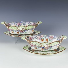A Pair Of Spode Creamware Baskets And Stands c1820