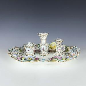 English Porcelain Inkstand c1835
