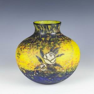 Large Delatte Nancy Enamelled Glass Vase c1920