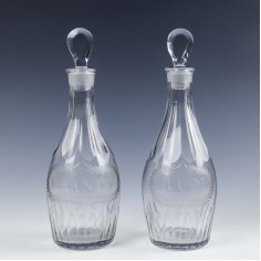 A Pair of Engraved Indian Club Decanters c1800