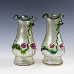 A Pair of Kralik Applied Fruit Vases c1900