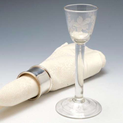 Wheel Engraved Plain Stem Georgian Wine Glass c1745