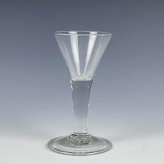 Georgian Drawn Trumpet Plain Stem Wine Glass c1740