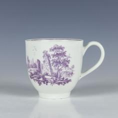 Worcester Lilac Printed Obelisk Vase and Fisherman Pattern Coffee Cup c1770