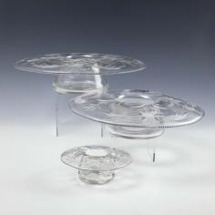A Set of Three Graduated John Walsh Walsh Cut Crystal Table Posy Bowls - c1925