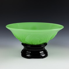 A Jobling Jade Glass Fircone Pattern Bowl and Stand c1925