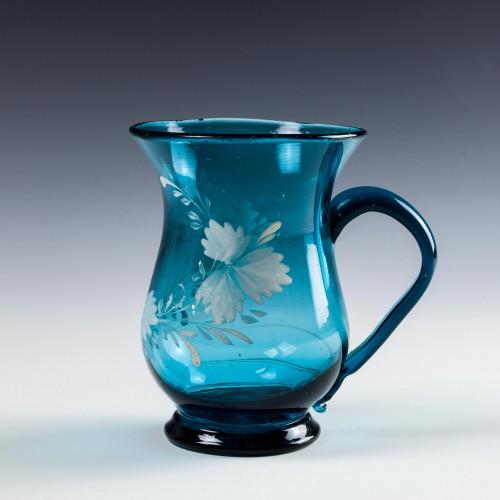 A Sea Blue Enamelled Grog Mug c1840