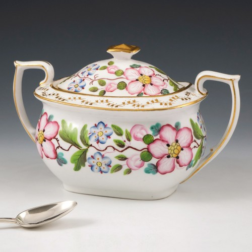 A New Hall Bone China  two handled Sucrier and Cover c1820