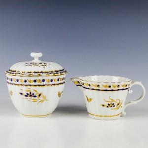 Worcester Porcelain Ribbed Sucrier and Cream Jug c1780