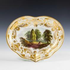 Derby Porcelain Scottish Landscape Dessert Dishe c1790