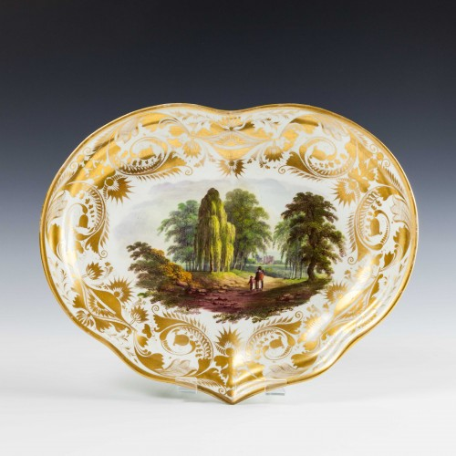Derby Porcelain Scottish Landscape Dessert Dish c1790