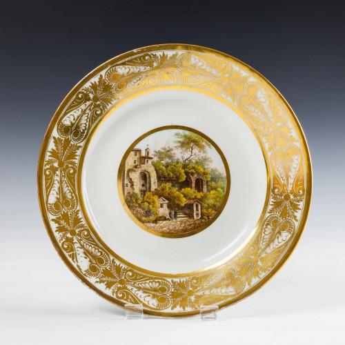 Derby Porcelain Landscape Dessert Plate c1810