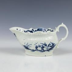 Worcester Porcelain Two Porter Landscape Pattern Creamboat c1770