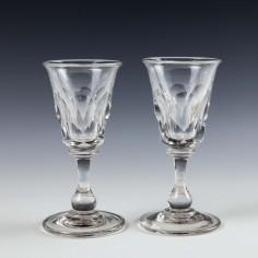 Pair Victorian Gin Glasses c1860