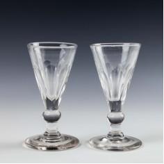 Pair Of Victorian Petal Cut Gin Glasses c 1860