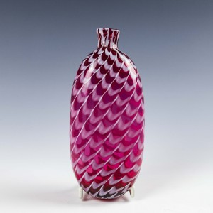 Victorian Pink & White Nailsea Glass Flask