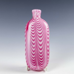 19th Century Pink & White Nailsea Glass Flask c1860