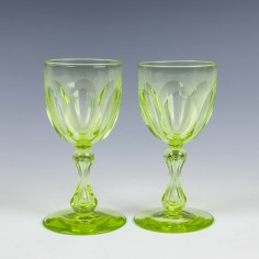 Pair English Uranium Wine Glasses c1880