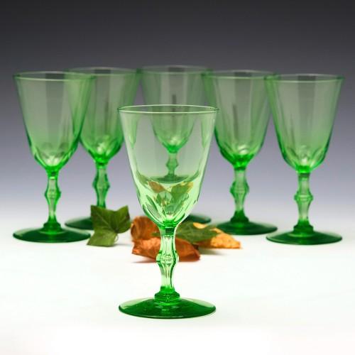 Set of Six Uranium Green Wine Glasses c1880