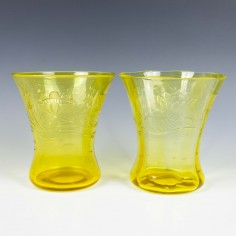 A Pair of Thomas Webb Cadmium Yellow Engraved Glass Vases c.1900