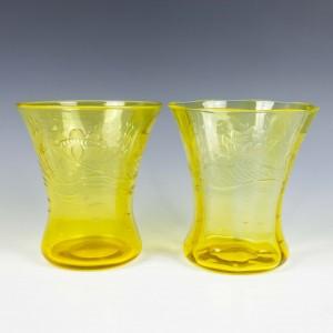 A Pair of Thomas Webb Cadmium Yellow Engraved Glass Vases c.1900
