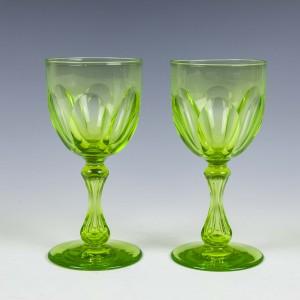 Pair of 19th Century Uranium Wine Glasses c1870