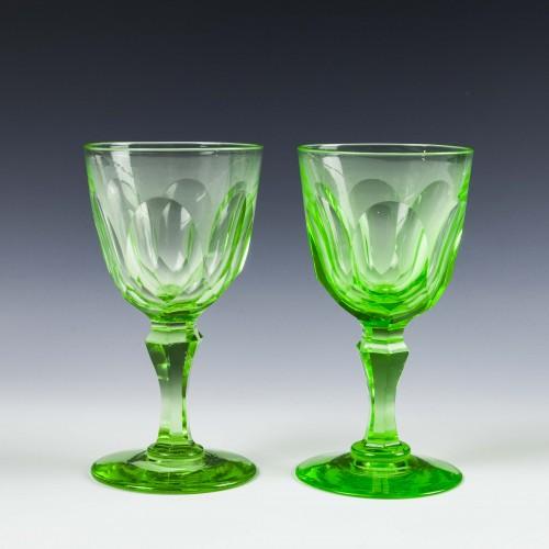 Pair of Victorian Uranium Wine Glasses c1880