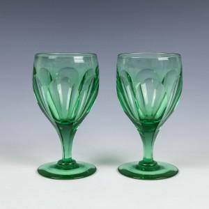 Pair of Apple Green Wine Glasses Signed Webb c1920